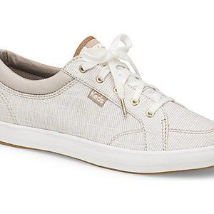 Keds Ortholite Tan and White Striped Shoes